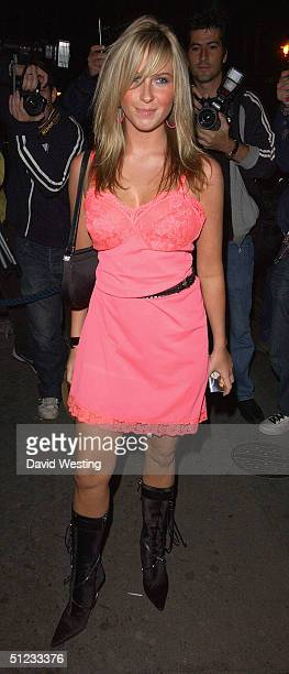 Pregnant Eastenders Actress Brooke Kinsella leaves Eastenders actor Christopher Parker's 21st birthday party at 6 Degrees Bar on August 28 2004 in...