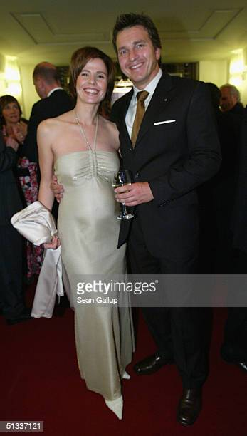 A pregnant Franziska Schenk and her husband Thomas attend the Goldene Henne Awards at Friedrichstadtpalast on September 22 2004 in Berlin Germany