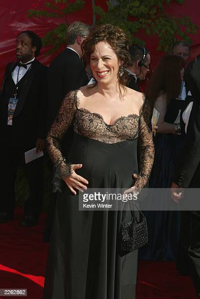A Pregnant Jane Kaczmarek arrives at the 54th Annual Primetime Emmy Awards held at the Shrine Auditorium on September 22 2002 in Los Angeles CA