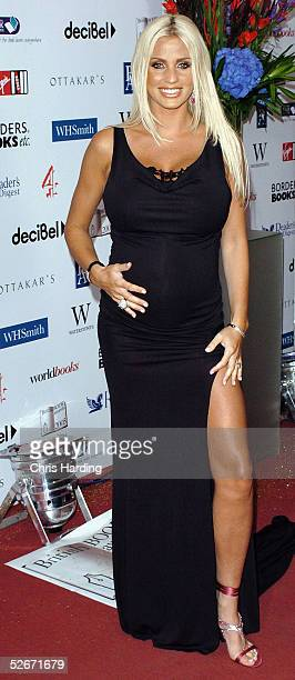 A pregnant Jordan arrives at the annual British Book Awards at Grosvenor House Park Lane on April 20 2005 in London England The literary awards...