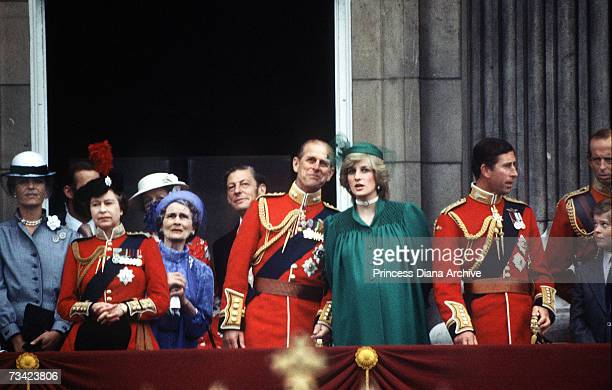 Pregnant Princess of Wales joins the royal family on the balcony of Buckingham Palace for the Trooping of the Colour ceremony, June 1982. The Queen,...