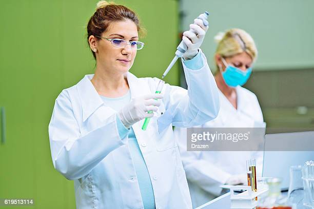 Pregnant scientist working in lab with her mature coworker