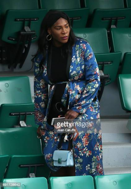 Pregnant Serena Williams attends sister Venus' match on Court Central on day 6 of the 2017 French Open second Grand Slam of the season at Roland...