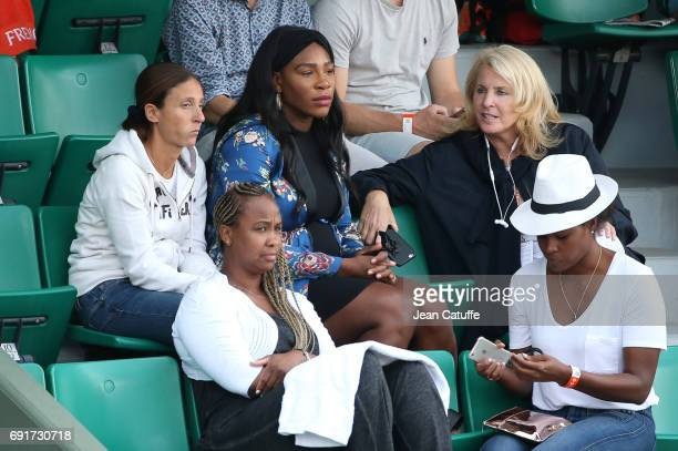 Pregnant Serena Williams with her agent Jill Smoller attend sister Venus' match on Court Central on day 6 of the 2017 French Open second Grand Slam...