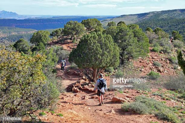 Pregnant woman and family hiking Kolob Canyons. Timber Creek Overlook Trail.