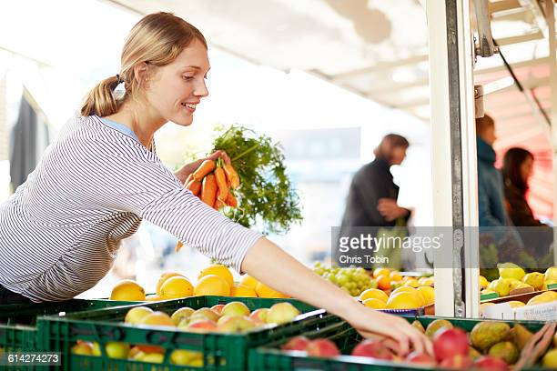 Pregnant woman at market