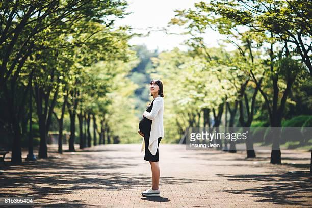 pregnant woman holding her belly in park - koreanischer abstammung stock-fotos und bilder