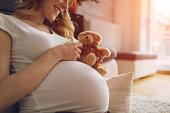 Pregnant Woman Holding Teddy Bear