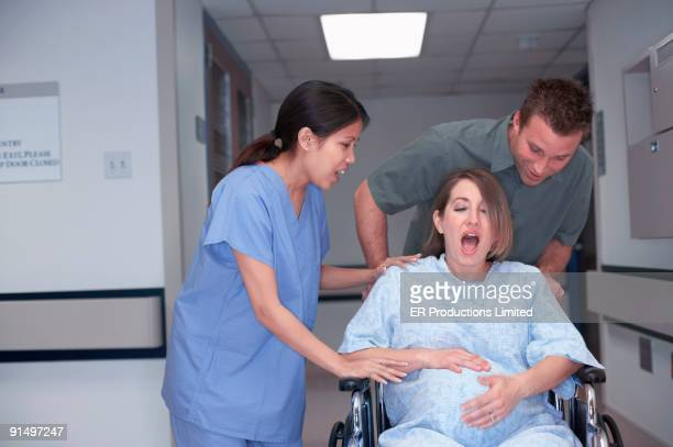 Pregnant woman in labor at hospital