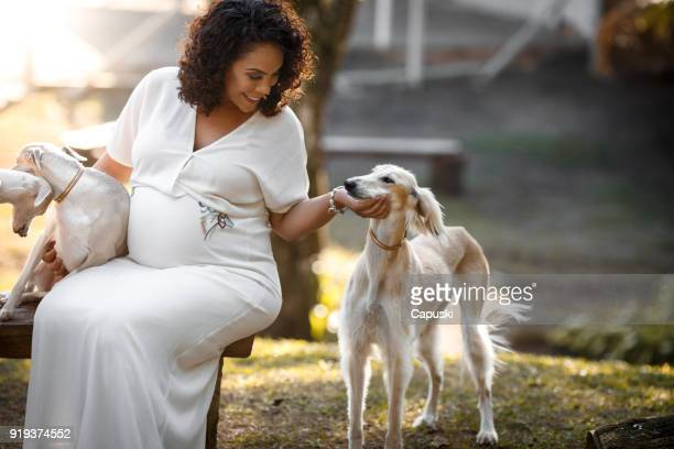 pregnant woman playing with her dog - maternity wear stock pictures, royalty-free photos & images