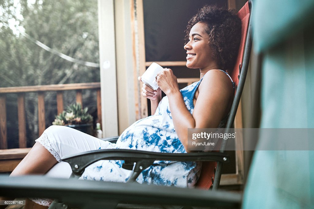 Pregnant Woman Relaxing With Tea : Stock Photo