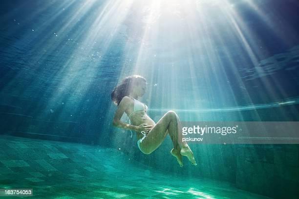 Pregnant woman underwater
