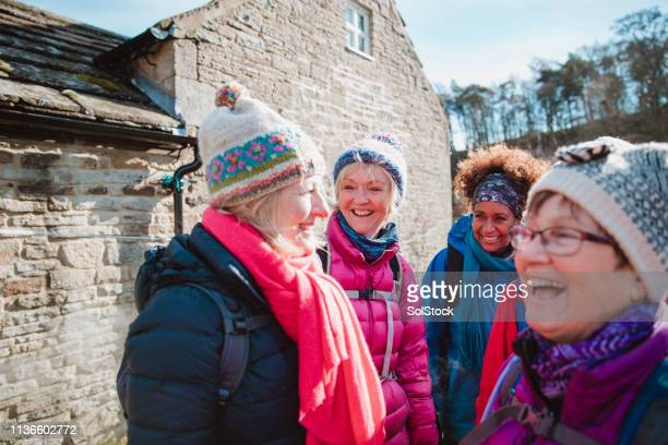 pre-hike laughs - competition group stock pictures, royalty-free photos & images