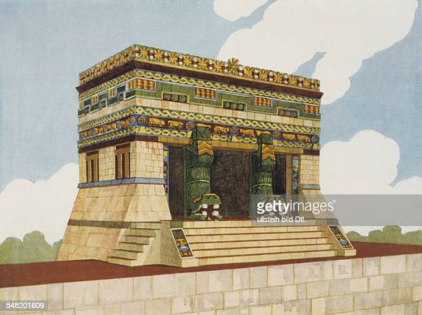 prehispanic america high culture region mesoamerica mayaregion Reconstruction of the temple of the jaguars at the ball court of Chichen Itza 10/11AD