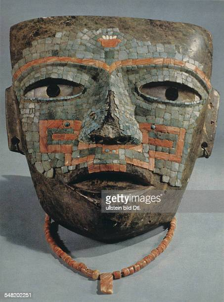 prehispanic america high culture regions mexico mesoamerica art objects Mosaic mask of Teotihuacan culture tomb find from Malinaltepec stone with...