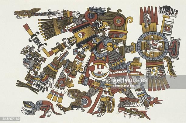 prehispanic america high culture regions mexico mesoamerica art objects religion Codex Borgia pictorial manuscript of eraly 16th cent Plate 17 God...
