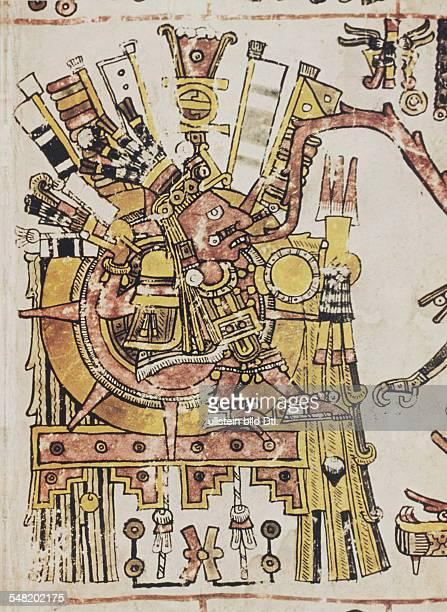 prehispanic america high culture regions mexico mesoamerica art objects religion Codex Borgia pictorial manuscript of eraly 16th cent Plate 71...
