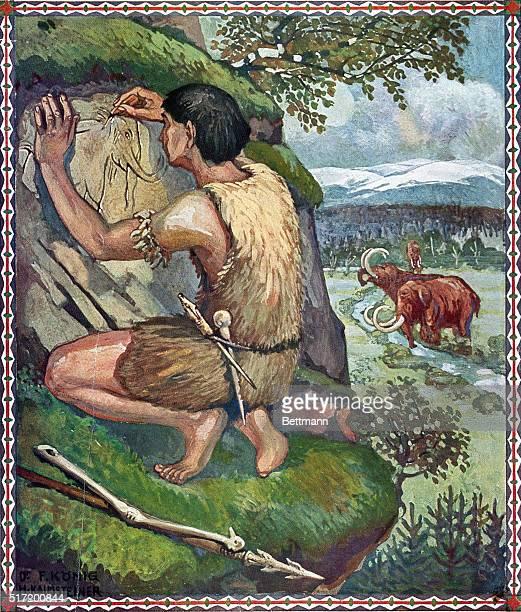Prehistoric man drawing on a rock