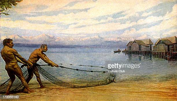 Prehistoric man lake dwellers Reconstruction of fishing scene Remains found on shore of modernday Lake Neuchâtel Switzerland Lived around 12000 years...