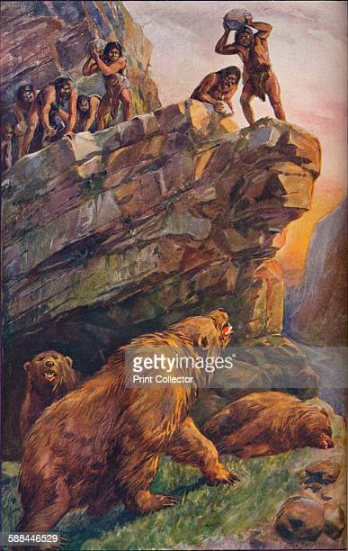 Prehistoric men attacking great cave bears 1907 From Harmsworth History of the World Volume 1 by Arthur Mee JA Hammerton AD Innes MA