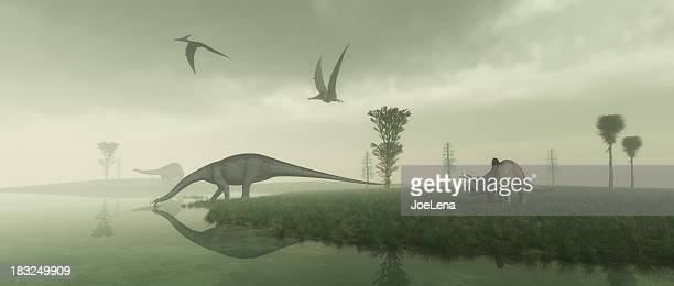 prehistoric scene - dinosaur stock pictures, royalty-free photos & images