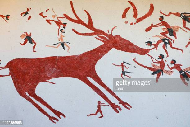 prehistoric wall paintings from catalhoyuk - homo sapiens foto e immagini stock
