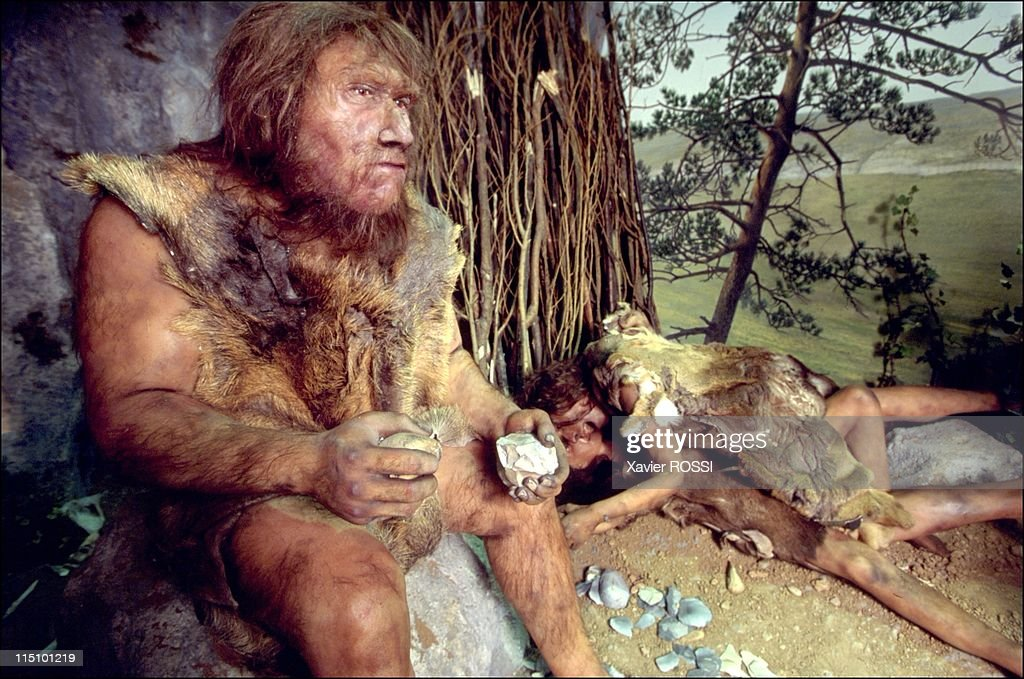 Prehistorical museum in Quinson, France on May 29, 2001 - Reconstruction of the environment of a Neanderthal man in the mid-Paleolithic period (80,000 BC).
