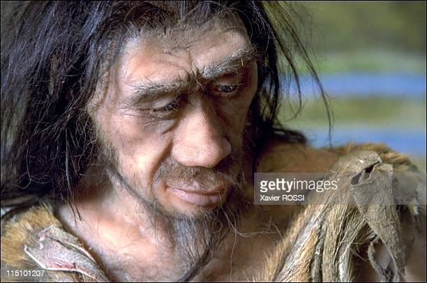 Prehistorical museum in Quinson France on May 29 2001 The man is a Homo erectus he has a larger brain and is stouter than he ancestor Home abilis