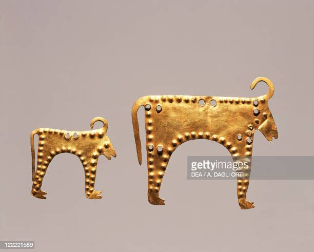 Prehistory Bulgaria Aeneolithic Gold leaf with animal figures from excavations at Varna tomb 36