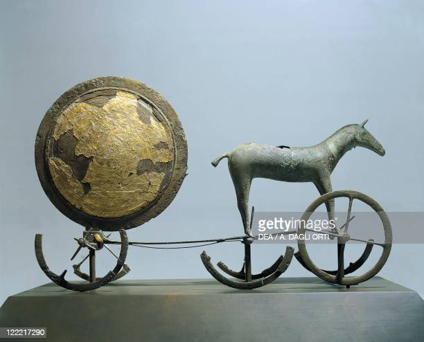Prehistory Denmark Bronze Age The 'Sun Chariot' bronze and gold leaf From Trundholm