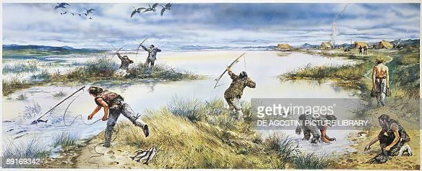 Prehistory Denmark Illustration recreates Neolithic age