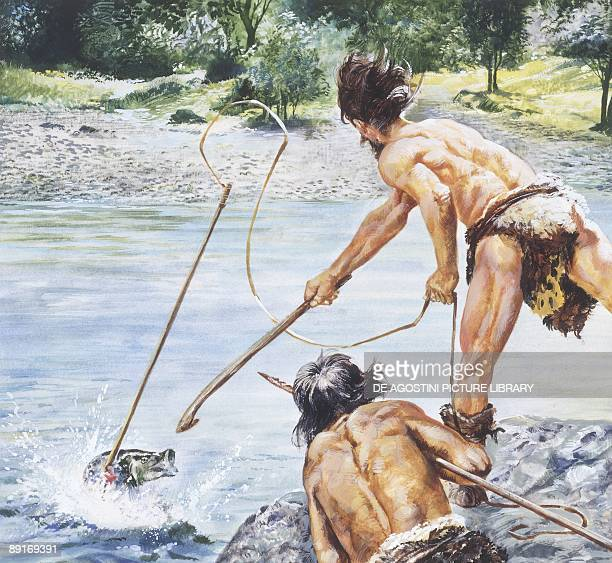 Prehistory drawing depicting men and habitat of the Neolithic