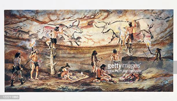 Prehistory. France - Limousin - Lascaux Cave. Reconstructed cave painting of bulls. Color illustration.