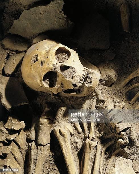 Prehistory, France, Middle Paleolithic. Burial of Neanderthal Man skeleton at La Chapelle-aux-Saints. Detail, skull.