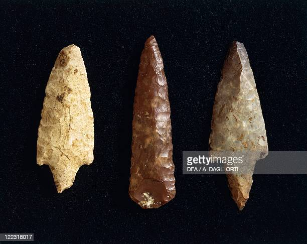 Prehistory Italy Copper Age Polished flint arrow and lance tips From Marche Region