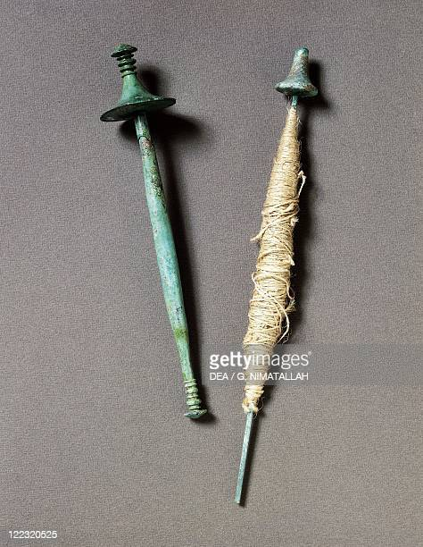 Prehistory Italy Iron Age Villanovian culture Bronze spindlewhorls From Benacci necropolis at Bologna Italy
