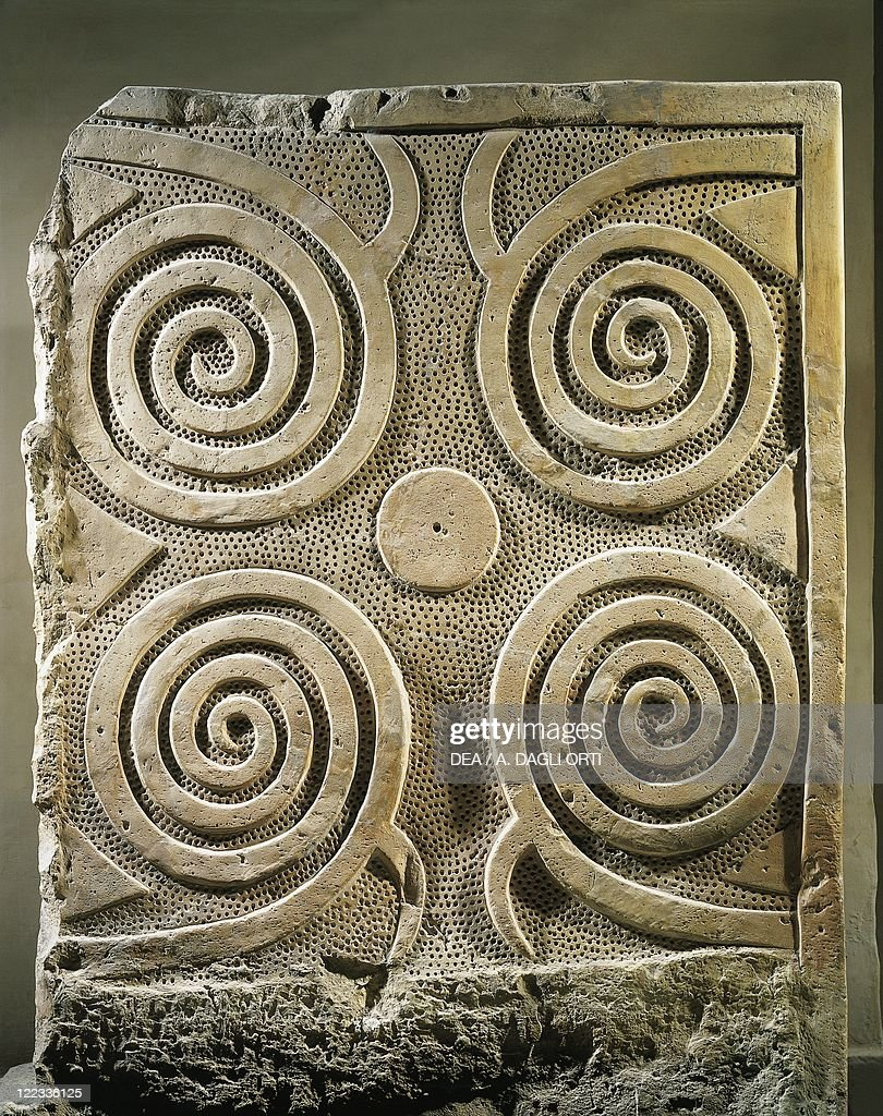 Spiral relief carving, from the Tarxien Temples : News Photo