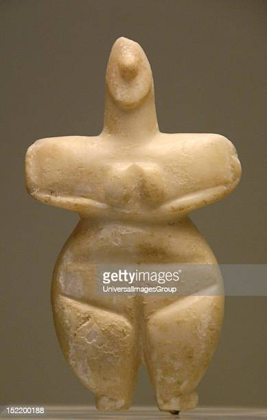 Prehistory Neolithic Marble female figure dated to the end of five millennium BC Found in Aegina National Archaeological Museum Athens Greece