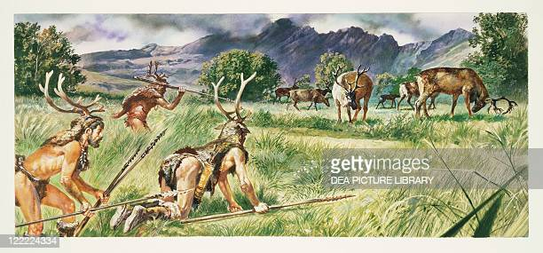 Prehistory Neolithic Reconstruction of daily life and environment of primitive people hunting scene Drawing