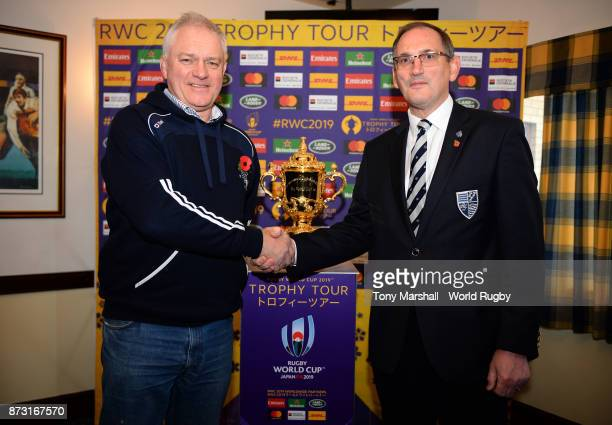 Preident of Stourbridge Rugby Club Nick Perry and Chairman of Sourbridge Robin Edwards pose with The Webb Ellis Cup during the Rugby World Cup 2019...