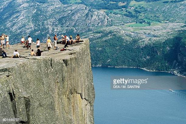 Preikenstolen granite cliff overlooking the Lysefjord Forsand Rogaland county Norway
