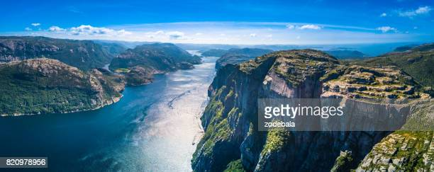 preikestolen, pulpit rock, lysefjorden, norway. panoramic view - norway stock pictures, royalty-free photos & images
