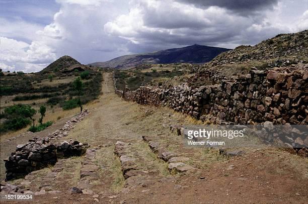 PreInca city of Pikillacta in the valley of Cuzco Monumental wall and road Peru preInca Cuzco valley