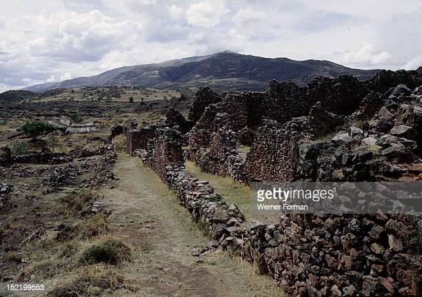 PreInca city of Piquillacta in the valley of Cuzco Detail showing internal architecture Peru preInca Cuzco valley