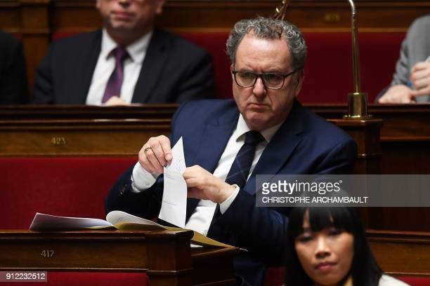 Preisdent of the French La Republique en Marche Parliamentary group Richard Ferrand attend a session of questions to the Government at the French...