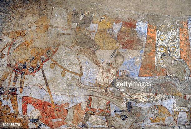 PreIslamic Central Asia Mural of the ceremonial hall Wall painting Glue colour on dry loess plaster Ca 740 Penjikent Tajikistan Sector XXI Chamber 1...