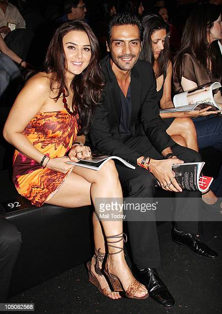 Preity Zinta and Arjun Rampal at Day II of the HDIL Couture fashion week in Mumbai on October 7 2010