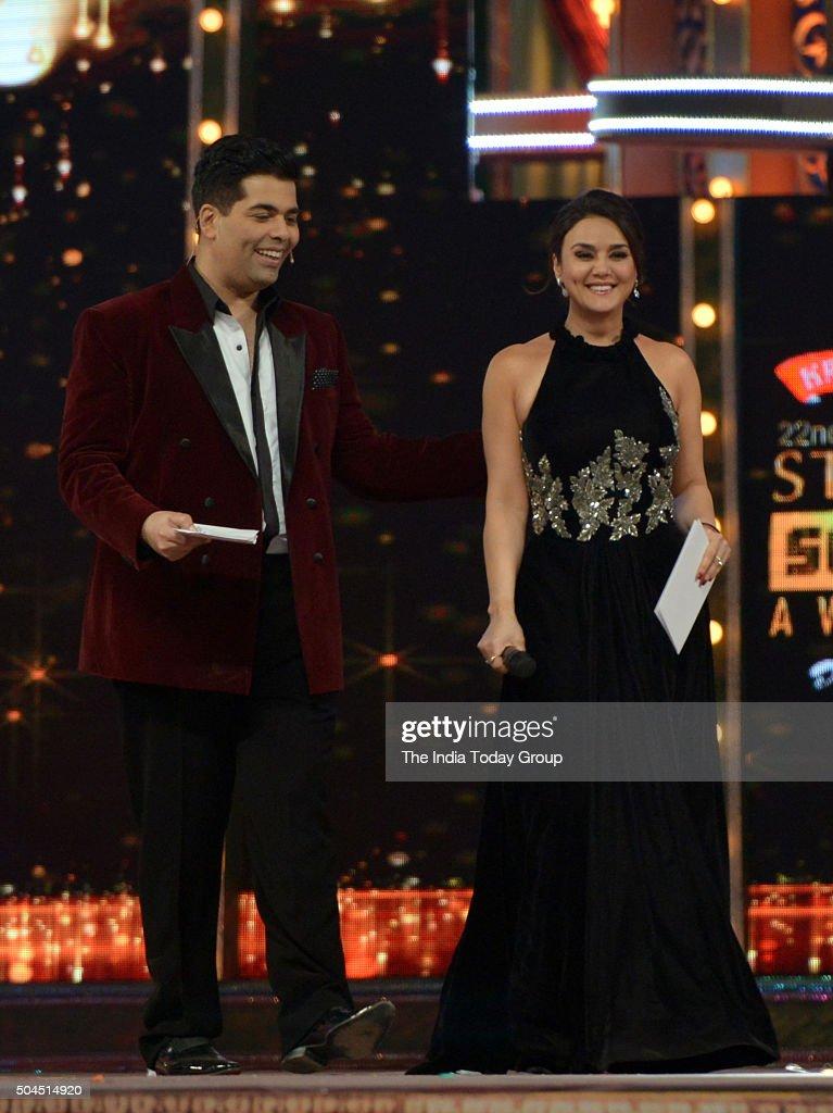 Preity Zinta and Karan Johar at Star Screen Awards 2016 in Mumbai