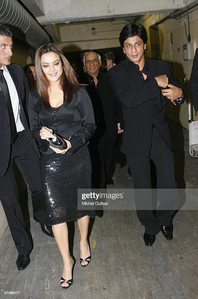 Preity Zinta and Shahrukh Khan attend the `Veer Zaara` film premiere after party at Le Grand Rex in the Mandalaray on April 26th 2006 in Paris France