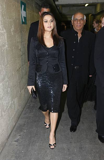 Preity Zinta and Yash Chopra attend the `Veer Zaara` film premiere after party at Le Grand Rex in the Mandalaray on April 26th 2006 in Paris France